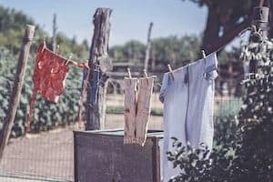clothes hanging for sun dry